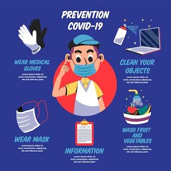 Infografía de prevención de coronavirus con hombre