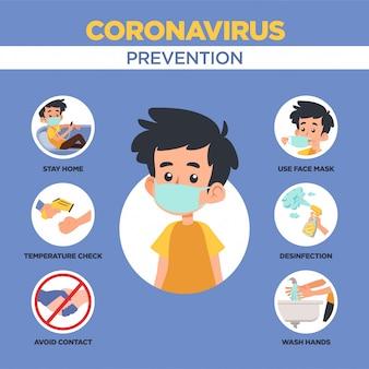 Infografía de prevención del virus printcorona 2019. ilustración de vector 2019-ncov