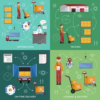 Infografía de proceso de almacén cuatro pancartas.
