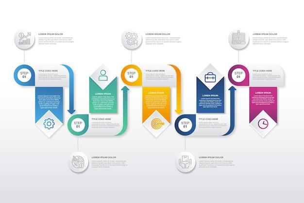Infografía de proceso colorido degradado