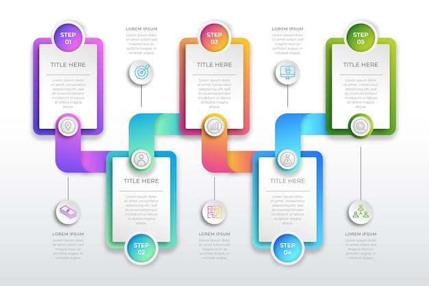Infografía de proceso de degradado colorido