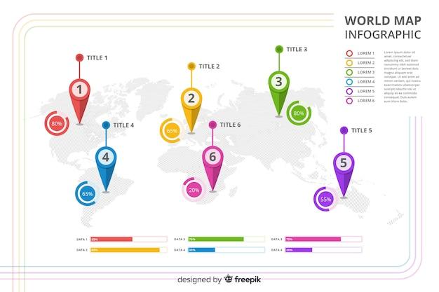 Infografia profesional con mapa mundial