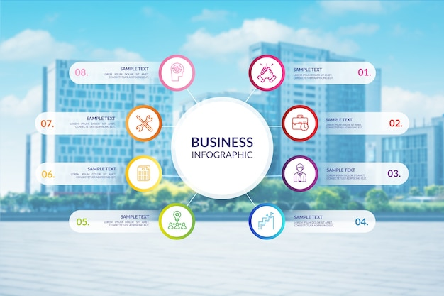 Infografía profesional de negocios con foto