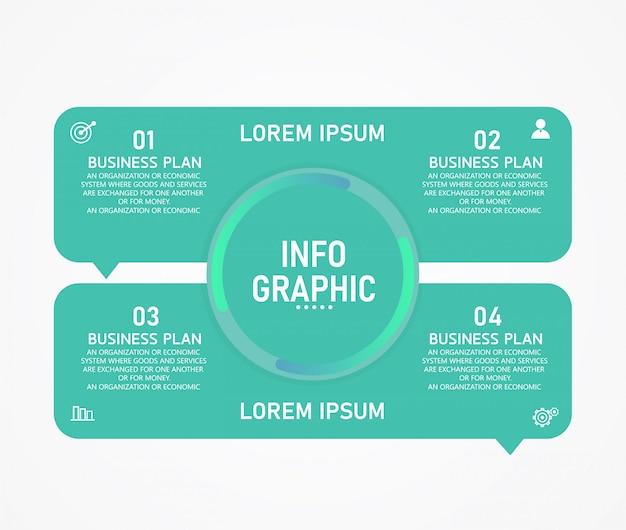 La infografía se puede usar para el proceso de presentación, esquema, pancarta, gráfico, capa