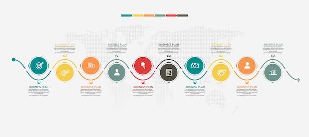 La infografía se puede utilizar para el proceso de presentación, gráfico de datos.