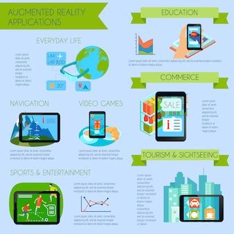 Infografía de realidad aumentada con ilustración de vector plano de símbolos de aplicaciones de realidad aumentada