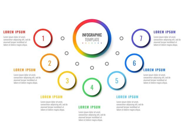 Infografía realista 3d de negocios con siete pasos. plantilla de infografía moderna con elementos redondos.