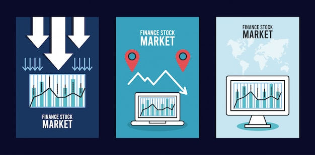 Infografía de recesión económica con computadora portátil y de escritorio