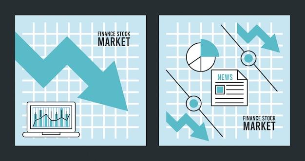 Infografía de recesión económica con flechas y estadísticas