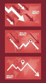 Infografía de recesión económica con flechas y mapas de la tierra