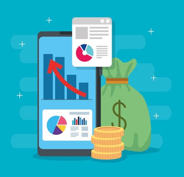 Infografía de recuperación financiera en teléfonos inteligentes e íconos