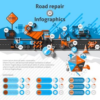 Infografía de reparación de carreteras
