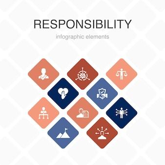 Infografía de responsabilidad diseño de color de 10 opciones. delegación, honestidad, confiabilidad, práctica de confianza, iconos simples