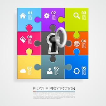 Infografía de rompecabezas con arte clave. ilustración vectorial