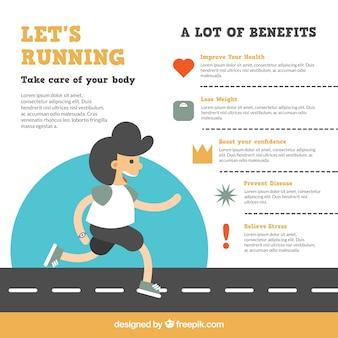 Infografía de running con hombre sonriente