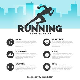 Infografía de running plana con silueta