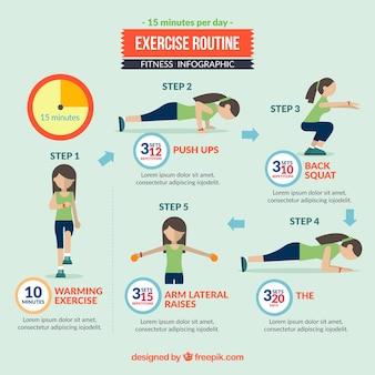 Infografía de rutina de ejercicio