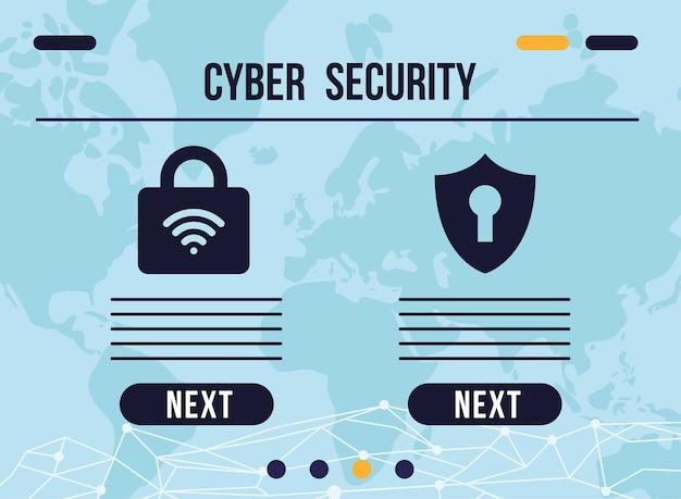 Infografía de seguridad cibernética con candado y diseño de ilustración de iconos de escudo