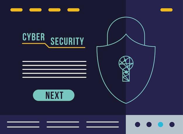 Infografía de seguridad cibernética con diseño de ilustración de escudo de candado