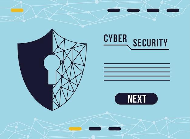 Infografía de seguridad cibernética con diseño de ilustración de ojo de cerradura y escudo