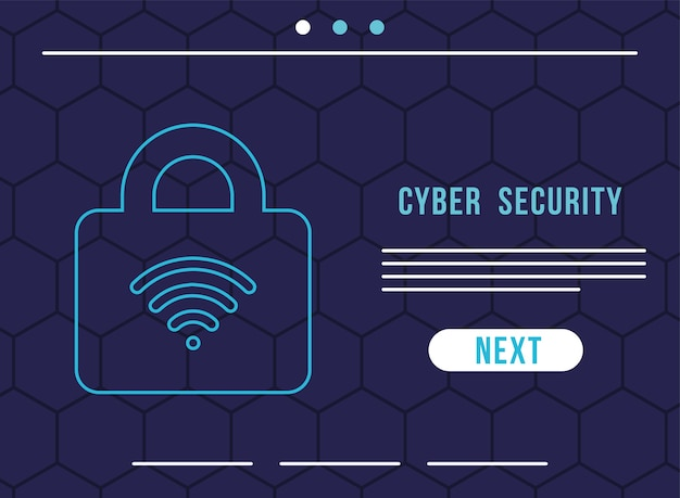 Infografía de seguridad cibernética con ondas wifi en diseño de ilustración de candado