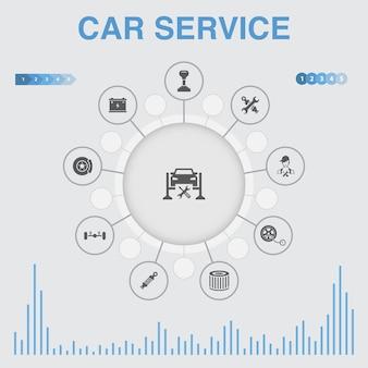 Infografía de servicio de coche con iconos. contiene iconos como freno de disco, suspensión, repuestos, transmisión