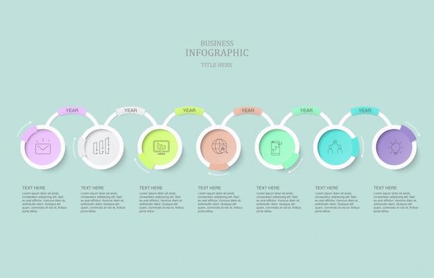 Infografía siete elementos círculos e iconos para el concepto de negocio actual.