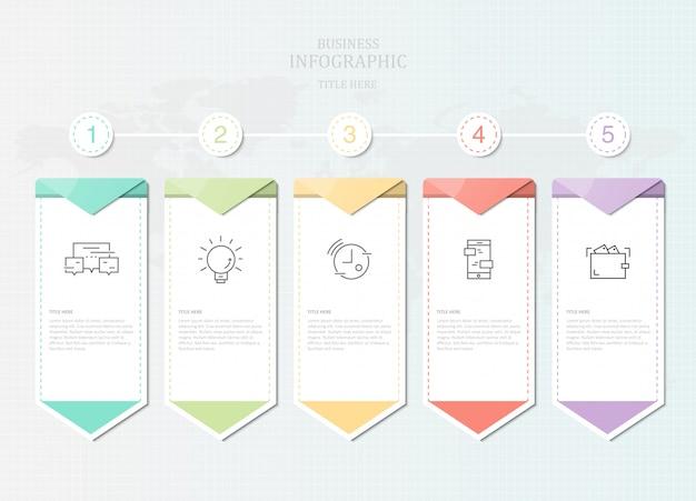 Infografía sive elemento de papel e iconos para presentación de negocios