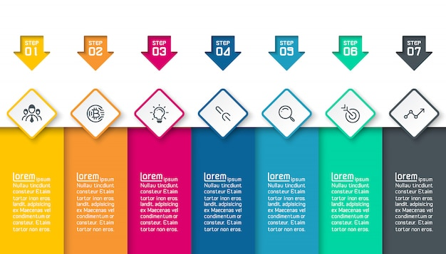 Infografía sobre fondo de vector abstracto de capas coloridas.