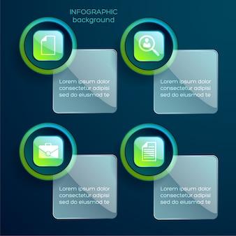 Infografía de stickies que se pueden tocar con cuatro pasos
