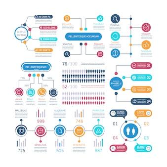 Infografía tablas financieras, gráfico de flujo de trabajo