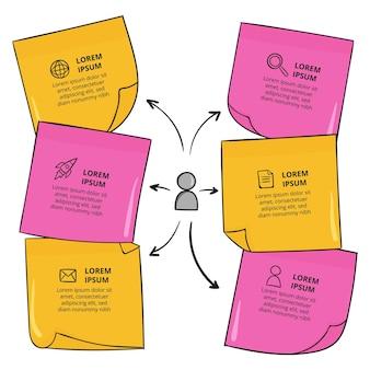 Infografía de tableros de notas adhesivas dibujadas a mano