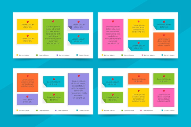 Infografía de tableros de notas adhesivas de diseño plano