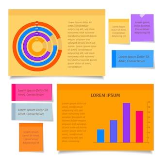 Infografía de tableros de notas adhesivas en diseño plano.