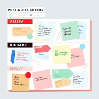 Infografía de tableros post-its planos