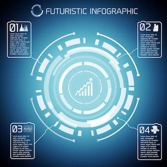 Infografía de tecnología virtual moderna con texto e iconos de diagrama de luz sobre fondo azul