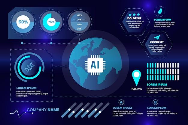 Infografía tecnológica con varias plantillas de datos importantes