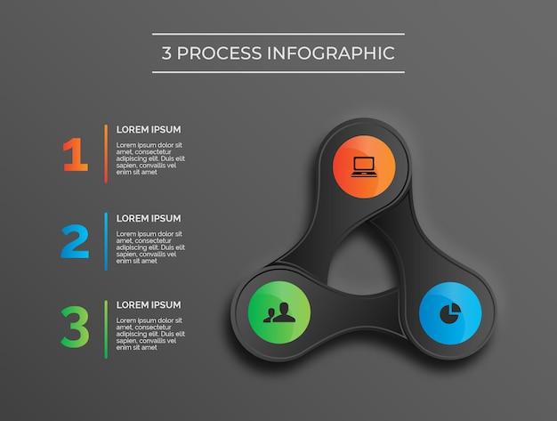 Infografía de tema oscuro 3 proceso moderno vector premium