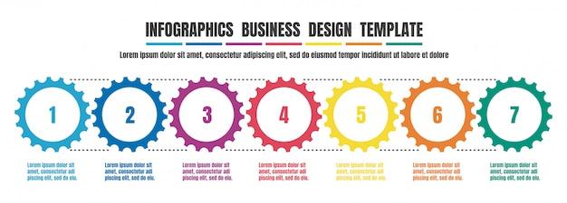 Infografía timeline plantilla de diseño colorido para negocio