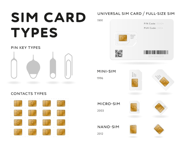 Infografía de tipos de tarjeta sim en estilo plano
