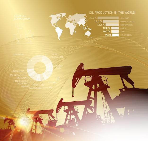 Infografía de la torre de perforación de petróleo con etapas de producción de aceite de proceso.