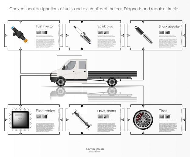 Infografía de transporte de carga y transporte. plantilla de infografías de automóviles. interfaz de usuario táctil gráfica virtual abstracta. diagnóstico de automóviles. plantilla de aplicaciones de reparación de automóviles móviles.