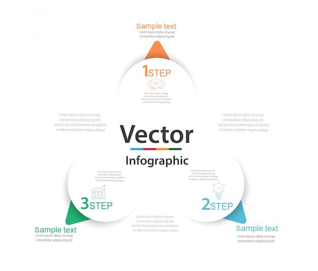 Infografía con tres elementos redondos de papel blanco con flechas o punteros