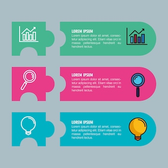 Infografía con tres pasos con elementos comerciales.