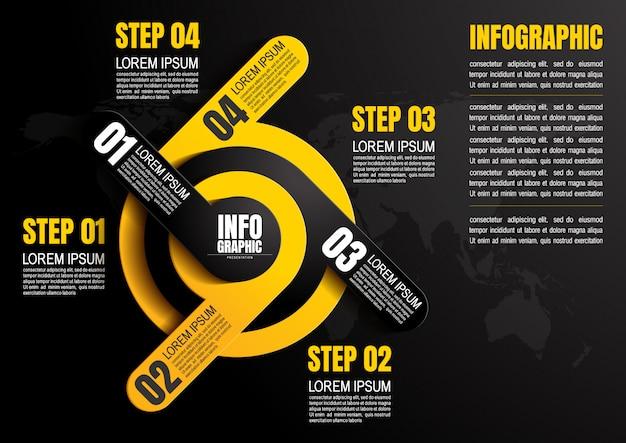 Infografía con tres pasos