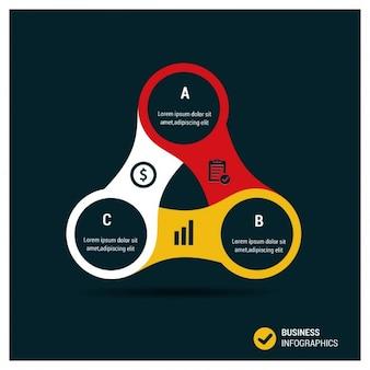 Infografía triangular con opciones circulares
