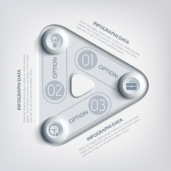 Infografía de triángulo abstracto empresarial con tres opciones, rectángulos redondos, círculos e iconos en colores grises
