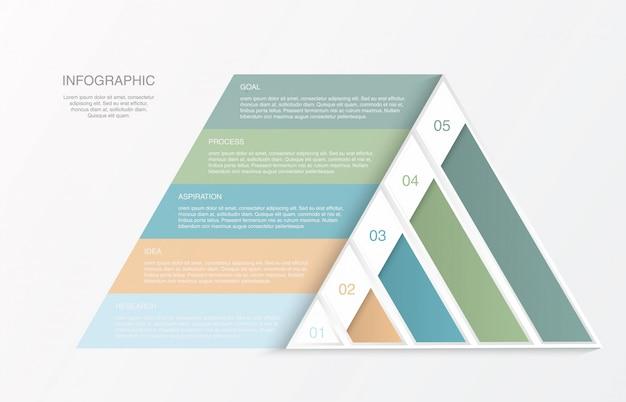 Infografía de triángulo pirámide colorido.