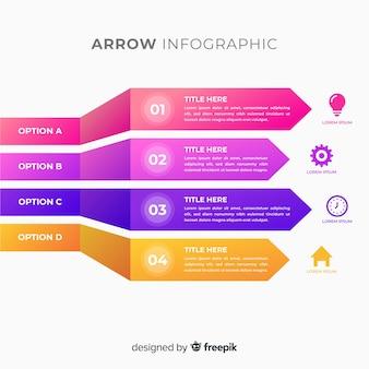 Infografía tridimensional colorida de flechas en degradado