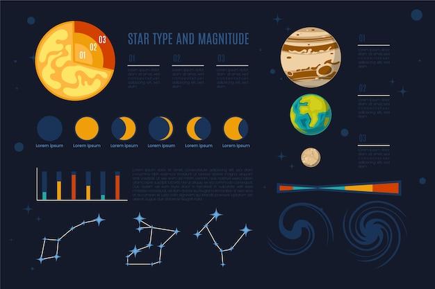 Infografía del universo con planetas